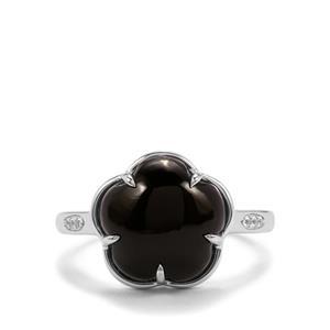Black Onyx & White Topaz Sterling Silver Ring ATGW ATGW 4.93cts