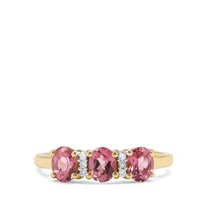 Malaya Garnet & Diamond 9K Gold Ring ATGW 1.43cts