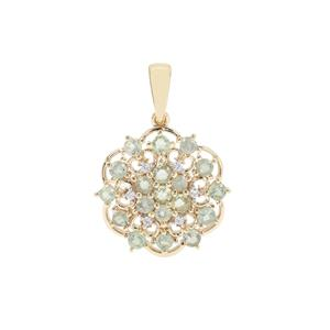 Alexandrite Pendant with White Zircon in 9K Gold 1.17cts