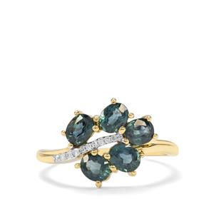 Natural Nigerian Blue Sapphire & Diamond 9K Gold Ring ATGW 1.66cts
