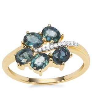 Natural Nigerian Blue Sapphire Ring with Diamond in 9K Gold 1.66cts