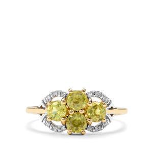 Sambava Sphene & Diamond 9K Gold Ring ATGW 1.27cts