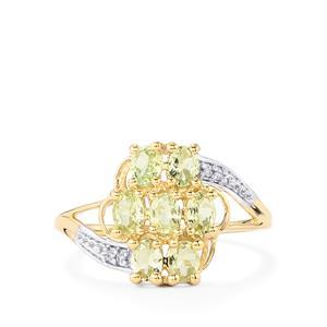 Merelani Mint Garnet & Diamond 10K Gold Ring ATGW 1.12cts