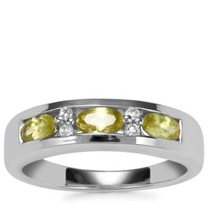 Ambilobe Sphene Ring with White Topaz in Sterling Silver 0.82ct