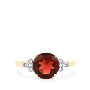 Rajasthan Garnet & White Zircon 10K Gold Ring ATGW 2.97cts