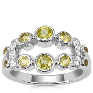 Ambilobe Sphene Ring with White Zircon in Sterling Silver 1.31cts