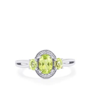 Pakistani Peridot Ring with White Zircon in Sterling Silver 1.35cts