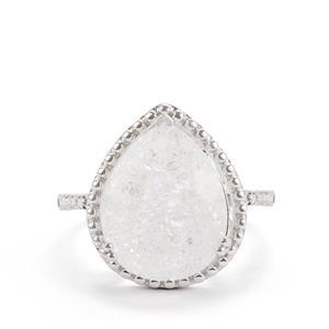 8.13ct White Crackled Quartz Sterling Silver Ring