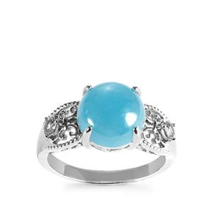 Blue Jade Ring with White Topaz in Sterling Silver 5.13cts