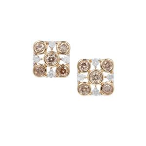 Champagne Diamond Earrings with White Diamond in 9K Gold 0.50ct
