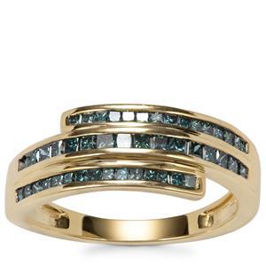 Blue Diamond Ring in 10K Gold 0.76ct