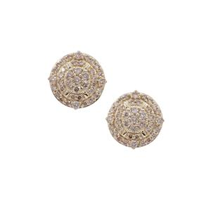 Champagne Argyle Diamond Earrings in 9K Gold 1.25cts