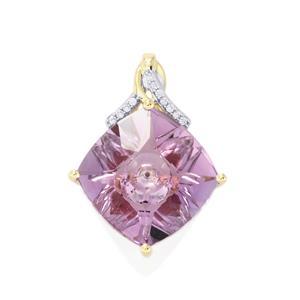 Lehrer KaleidosCut Rose De France Amethyst, Malagasy Ruby Pendant with Diamond in 9K Gold 5.33cts (F)
