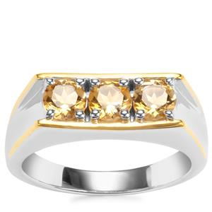 Rio Golden Citrine Ring in Two Tone Gold Plated Sterling Silver 1.50cts