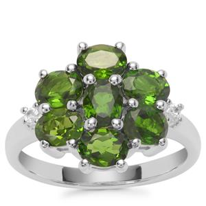 Chrome Diopside Ring with White Zircon in Sterling Silver 2.82cts