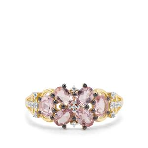Pink Spinel & White Zircon 9K Gold Ring ATGW 1.17cts
