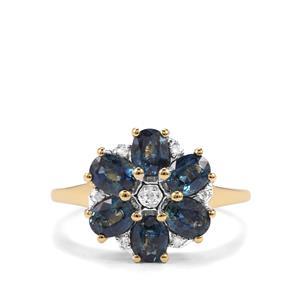 Australian Blue Sapphire & Diamond 10K Gold Ring ATGW 2cts