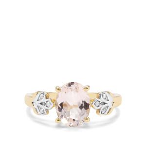 Alto Ligonha Morganite & Diamond 9K Gold Ring ATGW 1.62cts