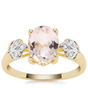 Alto Ligonha Morganite Ring with Diamond in 9K Gold 1.62cts