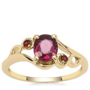 Malawi Garnet Ring with Rajasthan Garnet in 9K Gold 1.31cts