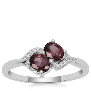 Burmese Spinel Ring with White Zircon in Sterling Silver 0.91cts