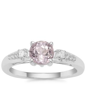 Brazilian Kunzite Ring with White Zircon in Sterling Silver 1.30cts