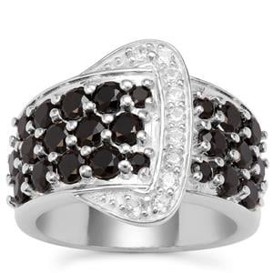 Black Spinel Ring with White Zircon in Sterling Silver 3.27cts