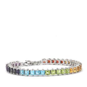 13.51ct Rainbow Gemstones Sterling Silver VIBGYOR Bracelet