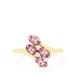 Pink Spinel & White Zircon 9K Gold Ring ATGW 1.11cts