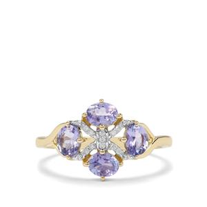 AA Tanzanite & Diamond 9K Gold Ring ATGW 1.07cts