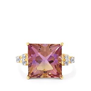 Anahi Ametrine Ring with Ceylon White Sapphire in 10K Gold 6.05cts