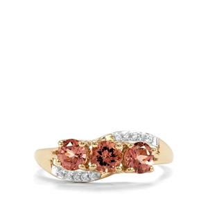 Natural Tanzanian Champagne Garnet Ring with White Zircon in 9K Gold 1.47cts
