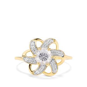 Singida Tanzanian Zircon & White Zircon 9K Gold Ring ATGW 1.17cts