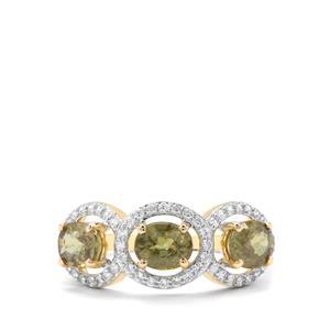 Ambanja Demantoid Garnet & White Zircon 9K Gold Ring ATGW 2.36cts