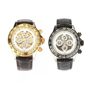 Diamond Mechanical Watch in Stainless Steel with Leather Strap 0.01ct