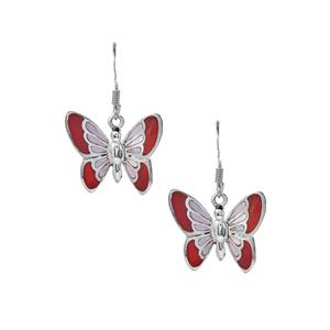 Carnelian and Mother of Pearl Butterfly Earrings  in Sterling Silver