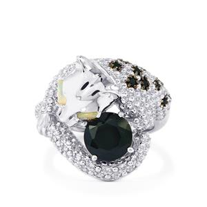 Black Spinel, Ethiopian Opal & White Zircon Sterling Silver Tendwa Ring ATGW 2.79cts