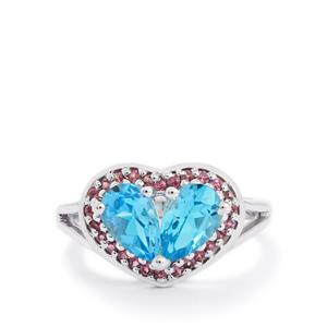 Swiss Blue Topaz & Rhodolite Garnet Sterling Silver Ring ATGW 2.28cts