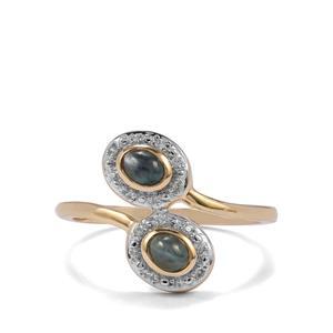 Cats Eye Alexandrite & White Zircon 9K Gold Ring ATGW 0.62cts