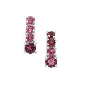 Rajasthan Garnet Earrings in Sterling Silver 1cts