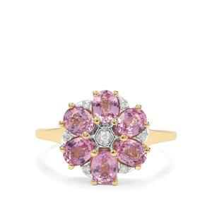 Sakaraha Pink Sapphire & Diamond 9K Gold Ring ATGW 1.90cts