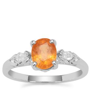 Mandarin Garnet Ring with White Zircon in Sterling Silver 1.90cts