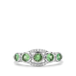 Tsavorite Garnet & Diamond 9K White Gold Ring ATGW 0.82cts