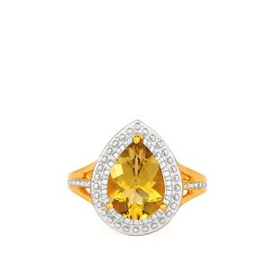 Champagne Quartz Ring in Gold Plated Sterling Silver 1.88cts