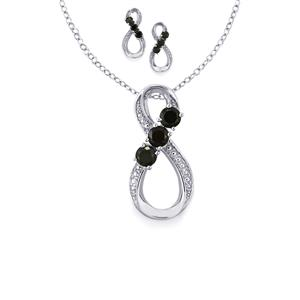 1.82ct Black Spinel Sterling Silver Set of Earrings & Pendant Necklace