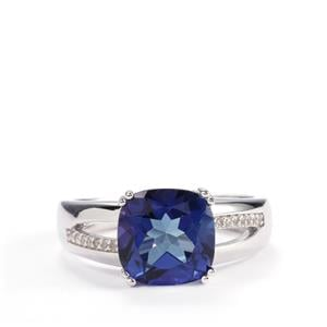 3.59cts Royal Blue & White Topaz Sterling Silver Ring