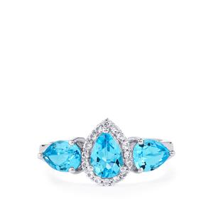 2.57ct Swiss Blue & White Topaz Sterling Silver Ring