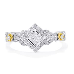 Diamond Ring in 10K Two Tone Gold 0.52ct