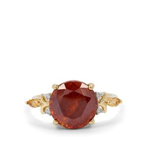 Sphalerite, Rio Golden Ring with White Zircon in 9K Gold 7.10cts