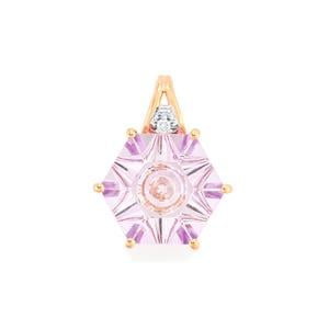 Lehrer QuasarCut Rose De France Amethyst Pendant with Diamond in 10k Rose Gold 5cts